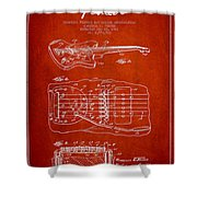 Fender Floating Tremolo Patent Drawing From 1961 - Red Shower Curtain