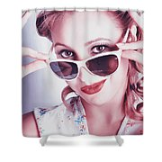 Fifties Glamor Girl Wearing Retro Pin-up Fashion Shower Curtain