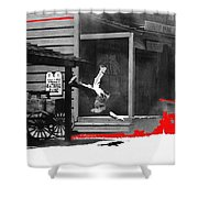 Film Noir Charles Bronson Death Wish 1974 Stunt Man Old Tucson Arizona 1968 Color Added 2012 Shower Curtain