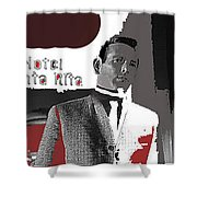 Film Noir David Janssen The Fugitive Santa Rita Hotel Front Xmas Tucson 1963 Color Added 2009 Shower Curtain