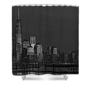 Financial District In New York City At Twilight Shower Curtain