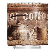 Fine Art Coffee Shop Tin Sign Insignia Shower Curtain