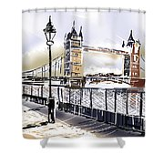 Fine Art Drawing The Tower Bridge In London Uk Shower Curtain