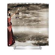 Fine Art Photo Of A Beautiful Winter Fashion Woman Shower Curtain