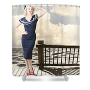 Fine Art Vintage Pin-up. Vacation Departure Dock Shower Curtain