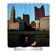 Fire On The River Shower Curtain