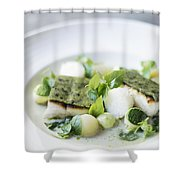 Fish Fillet With Herb Topping And Vegetables Shower Curtain