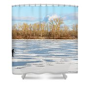 Fisherman On The Frozen River Shower Curtain