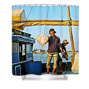 Fisherman With A Skate On Thu Bon River In Hoi An-vietnam  Shower Curtain