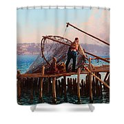 Fishermen Bringing In The Catch Shower Curtain