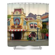 Five And Dime Disneyland Toontown Signage Shower Curtain