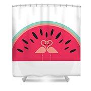 Flamingo Watermelon Shower Curtain