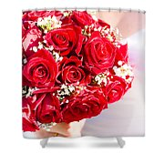 Floral Rose Boquet Held By Bride Shower Curtain