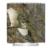 Flying Great Egret Shower Curtain