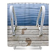 Footprints On Dock At Summer Lake Shower Curtain by Elena Elisseeva