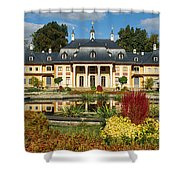 Formal Garden In Front Of A Castle Shower Curtain