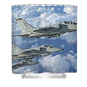 Formation Of Italian Air Force Amx-acol Shower Curtain
