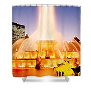 Fountain Lit Up At Dusk, Buckingham Shower Curtain