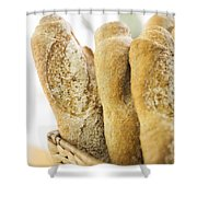 French Baguette In Basket Shower Curtain