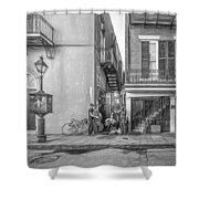 French Quarter Trio - Paint Bw Shower Curtain
