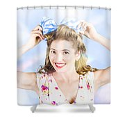 Friendly Female Pin-up Wearing Hair Accessories  Shower Curtain