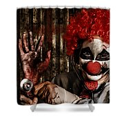 Frightening Clown Doctor Holding Amputated Hand  Shower Curtain
