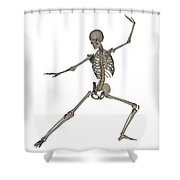 Front View Of Human Skeleton Shower Curtain