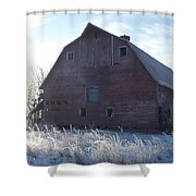 Frosty Barn Shower Curtain