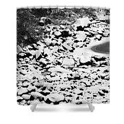 Frozen Riverbed In Winter Shower Curtain