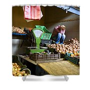 Fruit Stand Woman Shower Curtain