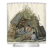 Fuegans In Their Hut, 18th Century Shower Curtain