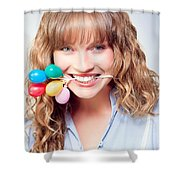Fun Party Girl With Balloons In Mouth Shower Curtain