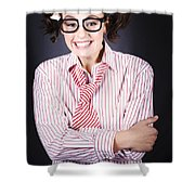 Funny Female Business Nerd With Big Geeky Smile Shower Curtain