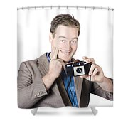 Funny Man Gesturing Big Smile With Vintage Camera Shower Curtain