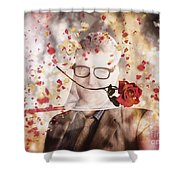 Funny Valentine Nerd Caught In Net Of Romance  Shower Curtain