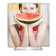 Funny Woman With Juicy Fruit Smile Shower Curtain