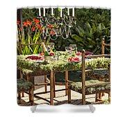 Garden Table Setting Shower Curtain
