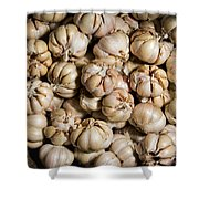 Garlic In A Basket. Shower Curtain