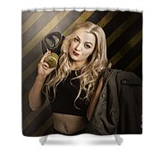 Gas Mask Pinup Girl In Nuclear Danger Zone Shower Curtain