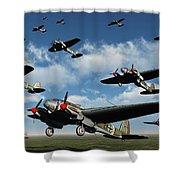 German Heinkel Bombers Taking Shower Curtain