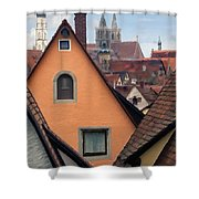 German Rooftops Impasto Shower Curtain