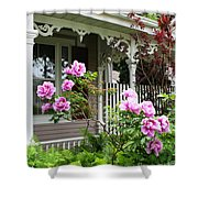 Gingerbread And Tree Peonies Shower Curtain