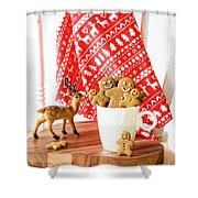 Gingerbread At Christmas Shower Curtain