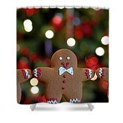 Gingerbread Men In A Line Shower Curtain