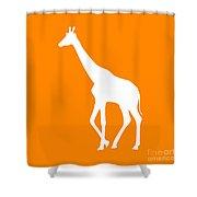Giraffe In Orange And White Shower Curtain