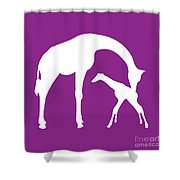 Giraffe In Purple And White Shower Curtain
