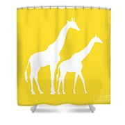Giraffes In Golden And White Shower Curtain