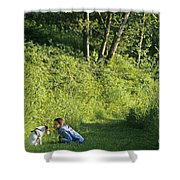Girl And Dog On Trail Shower Curtain