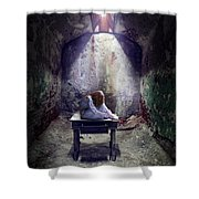 Girl In Abandoned Room Shower Curtain
