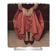 Girl On Black Sofa Shower Curtain
